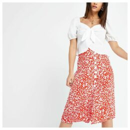 Womens Petite Red print button midi skirt