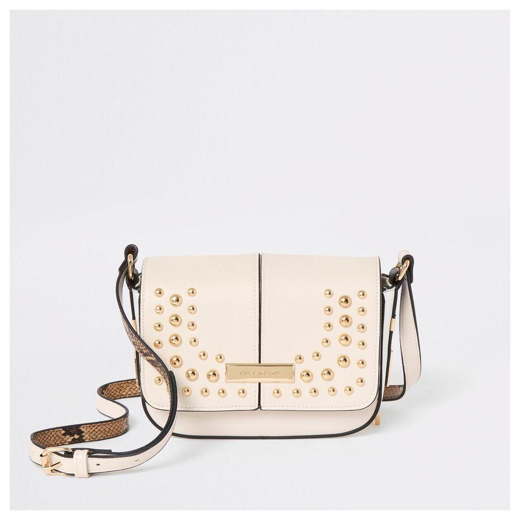 Womens Cream stud embellished cross body bag