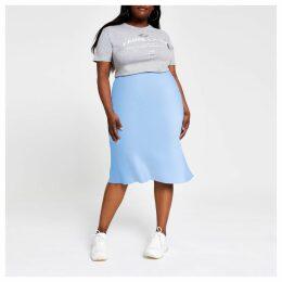 Womens Plus Blue bias cut midi skirt
