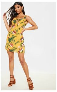 Mustard Floral Print Lace Up Shift Dress, Mustard