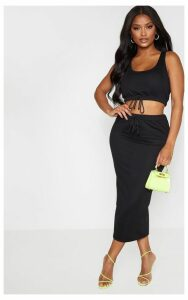 Shape Black Sweat Drawstring Midi Skirt, Black