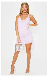 Lilac Ribbed Halterneck Cowl Ruched Bodycon Dress, Purple