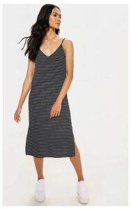 Black Knitted Stripe Rib Midi Dress, Black