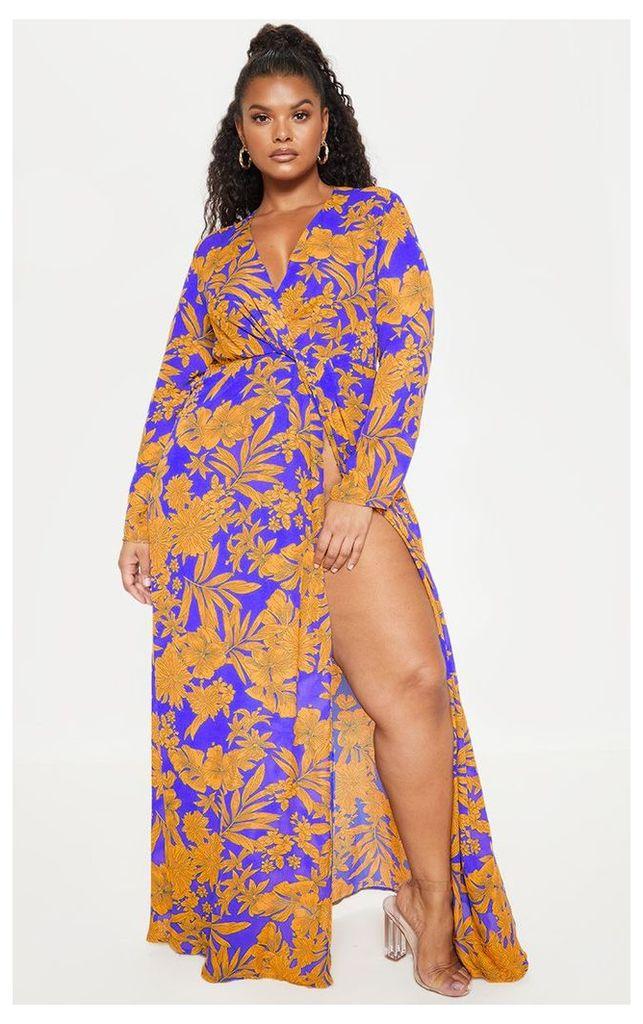 Plus Cobalt Tropical Print Twist Front Maxi Dress, Blue