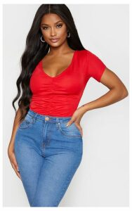 Shape Red Ruched Short Sleeve Bodysuit, Red