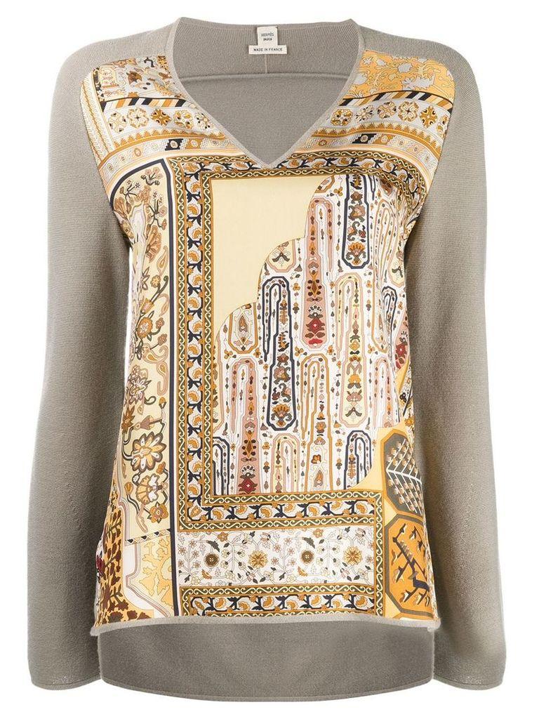 Hermès Vintage printed panel sweater - Grey
