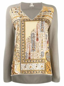 Hermès Pre-Owned printed panel sweater - Grey