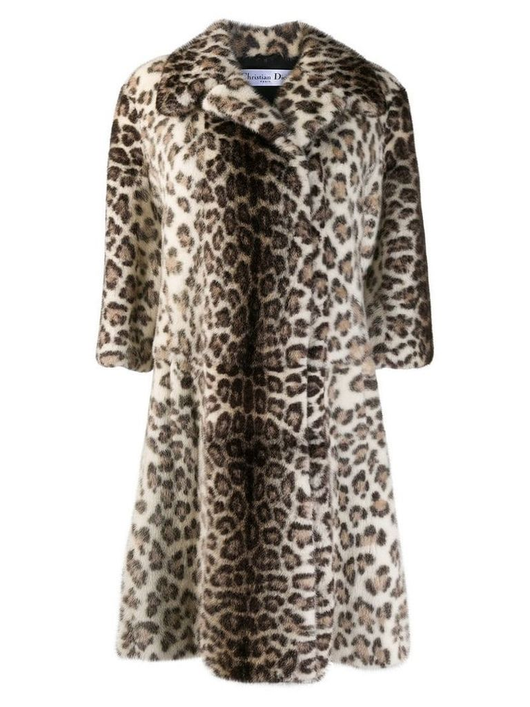 Christian Dior Pre-Owned leopard midi coat - Neutrals
