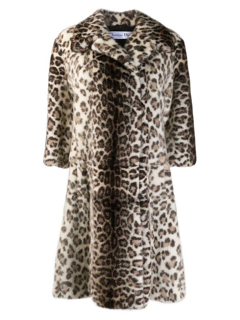 Christian Dior Vintage leopard midi coat - Neutrals
