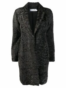 Christian Dior Pre-Owned textured midi coat - Brown