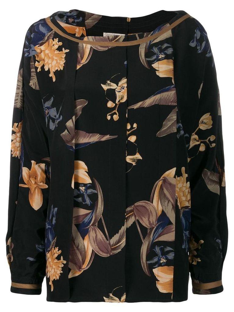 Versace Vintage 1980's box pleat floral blouse - Black