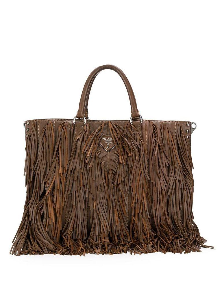 Prada Vintage 2000's fringed tote bag - Brown