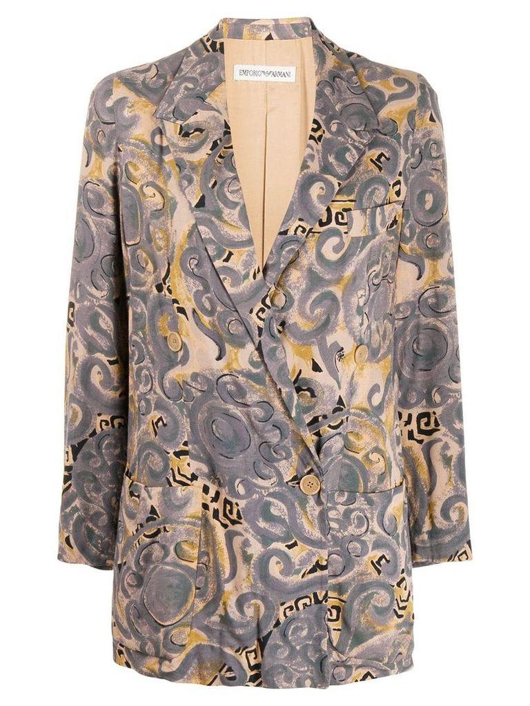 Giorgio Armani Vintage 1990's printed blazer - Grey