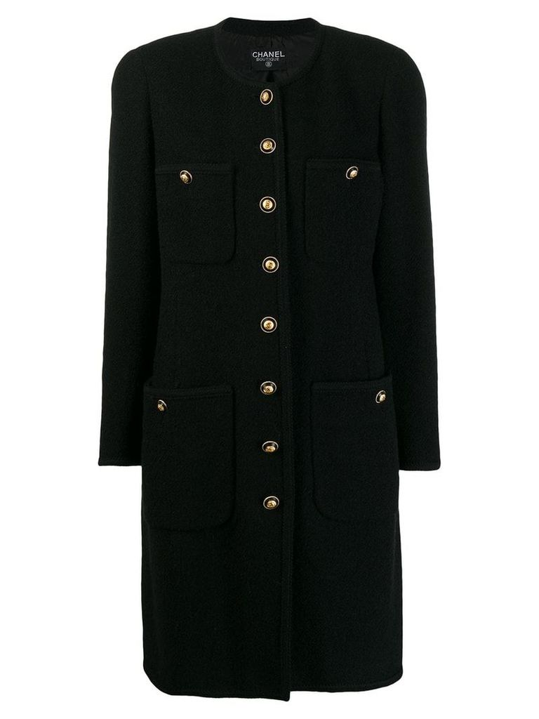 Chanel Vintage 1980's collarless midi coat - Black