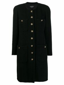 CHANEL PRE-OWNED 1980's collarless midi coat - Black