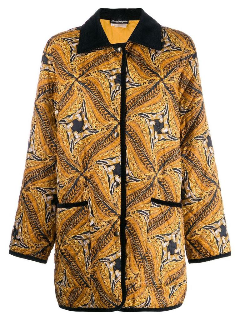 Salvatore Ferragamo Vintage 1980's abstract print coat - Brown