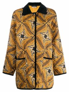 SALVATORE FERRAGAMO PRE-OWNED 1980's abstract print coat - Brown