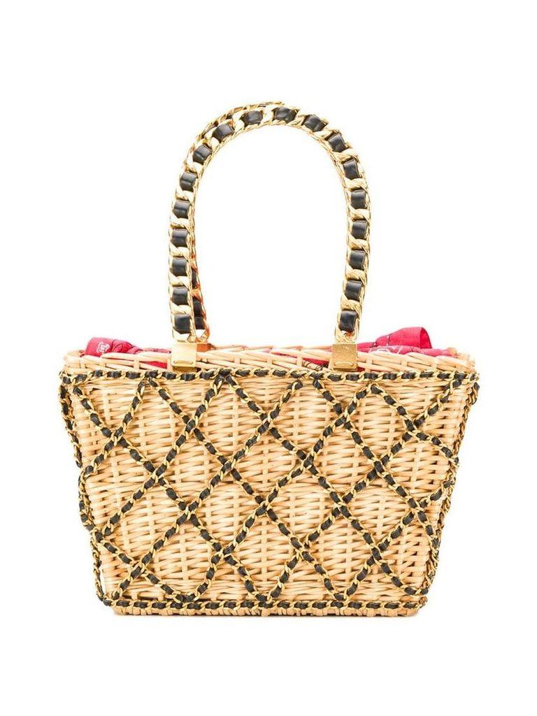 Chanel Vintage 1994 chain embellished basket bag - Neutrals