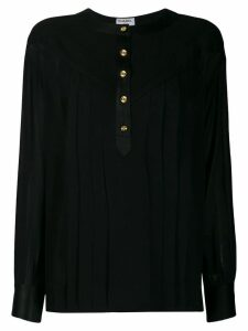 CHANEL PRE-OWNED 1990's sheer pleated blouse - Black