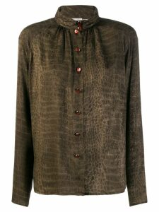 Emanuel Ungaro Pre-Owned 1980's crocodile print shirt - Brown