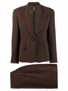 Fendi Pre-Owned 1990's slim skirt suit - Brown