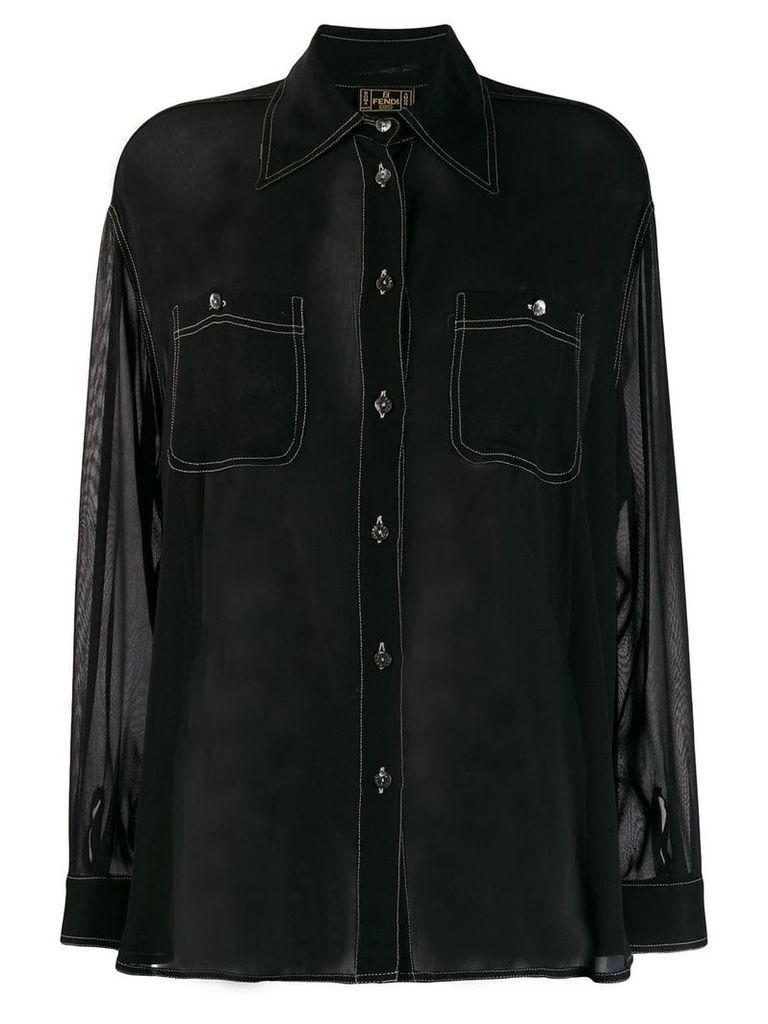Fendi Vintage 1970's sheer shirt - Black