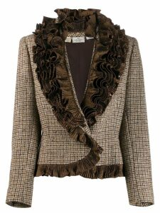 Valentino Pre-Owned 1980s ruffled collar jacket - Brown
