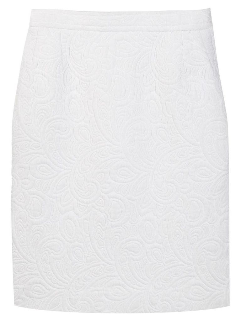 Yves Saint Laurent Vintage 1980's quilted pencil skirt - White