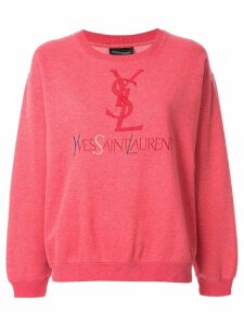 YVES SAINT LAURENT PRE-OWNED logo embroidered sweatshirt - Pink