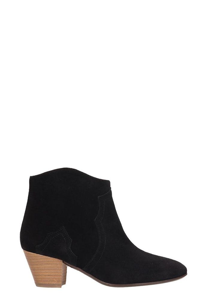Isabel Marant Dicker Black Suede Leather Ankle Boots