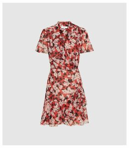 Reiss Marseille - Floral Printed Mini Dress in Red, Womens, Size 16