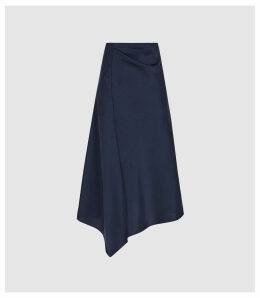 Reiss Aspen - Satin Slip Skirt in Navy, Womens, Size 14