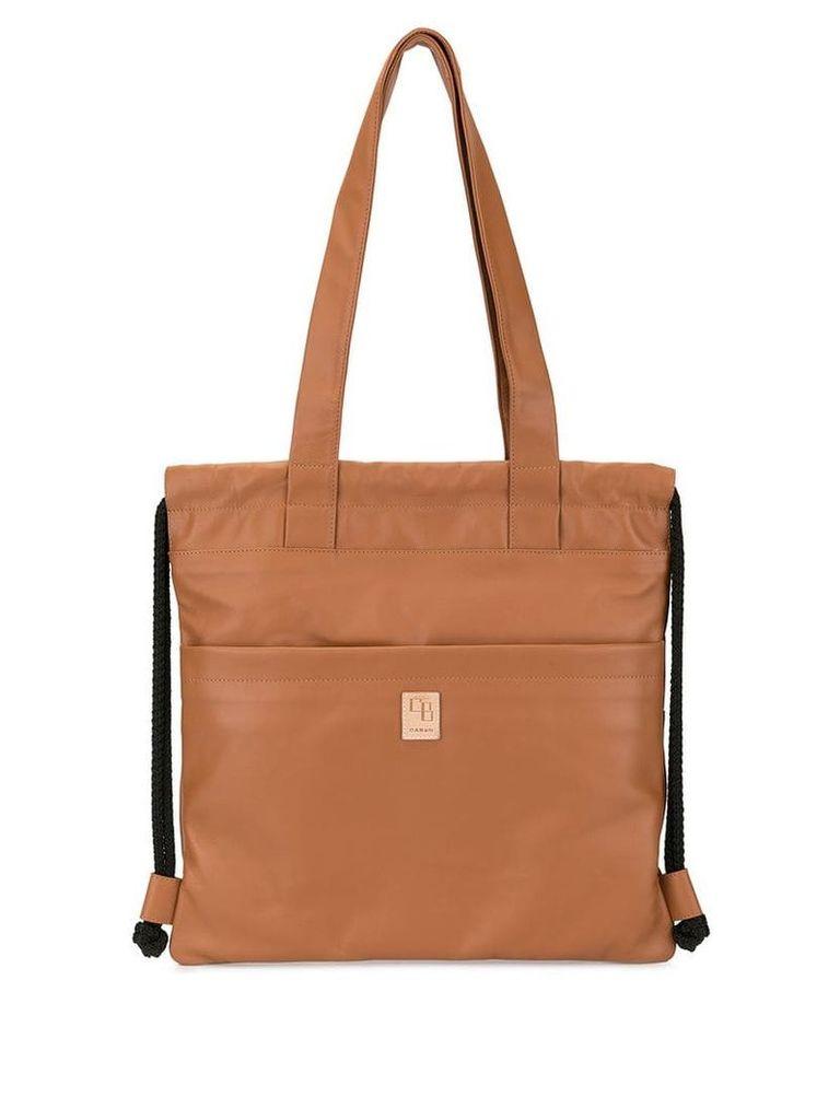 Caban drawstring logo tote bag - Brown