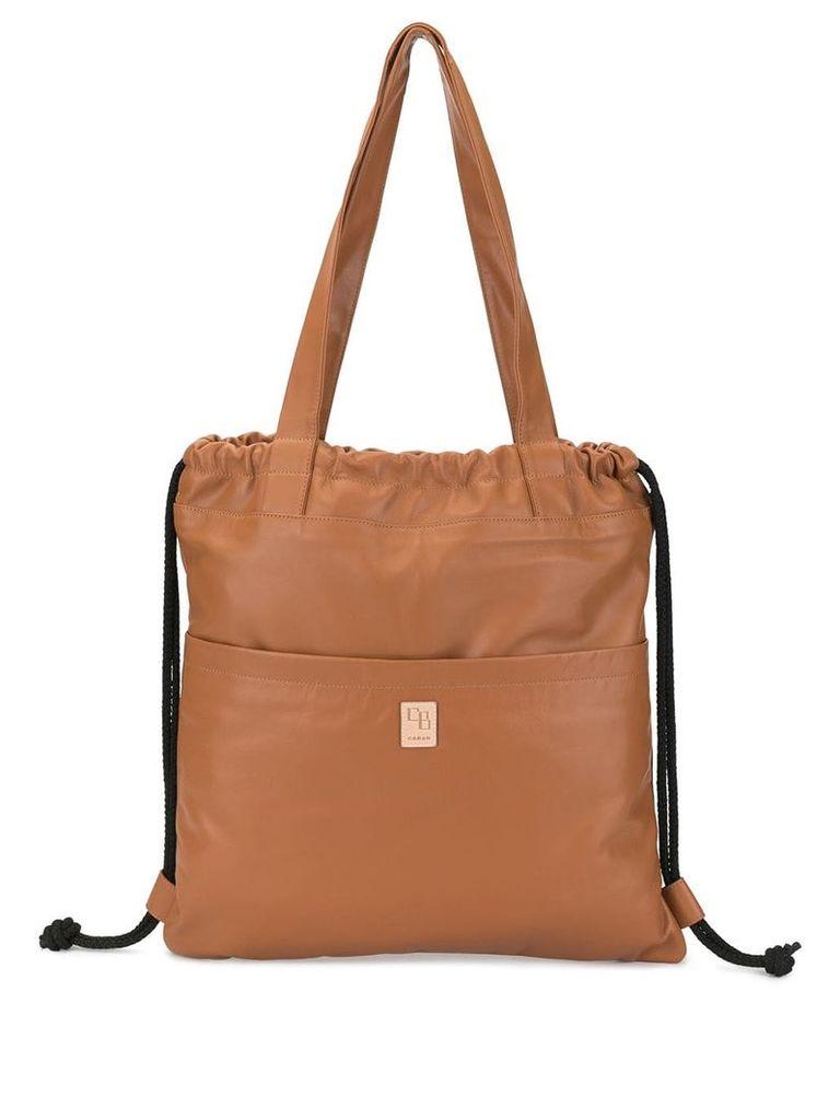 Caban drawstring gym tote bag - Brown