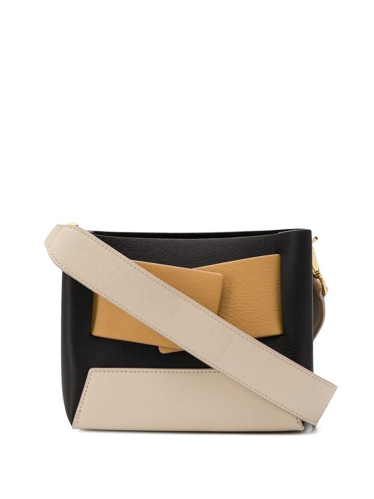 Yuzefi colour block shoulder bag - Brown