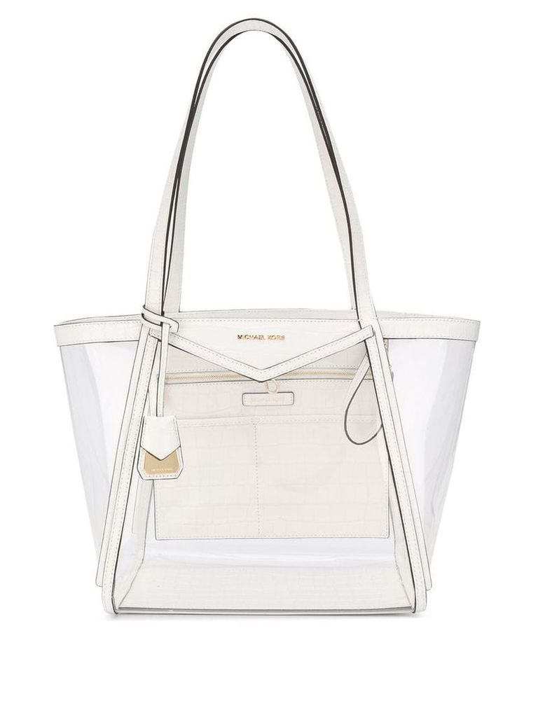Michael Michael Kors crocodile effect tote - White