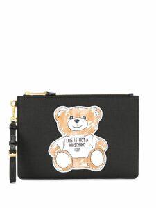 Moschino bear patch clutch bag - Black