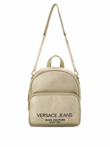 Versace Jeans logo zipped backpack - Gold