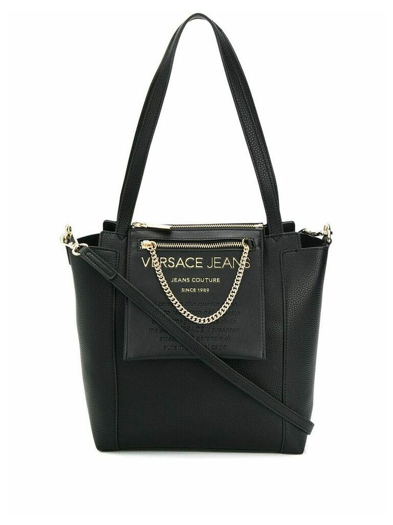 Versace Jeans logo shopper tote - Black