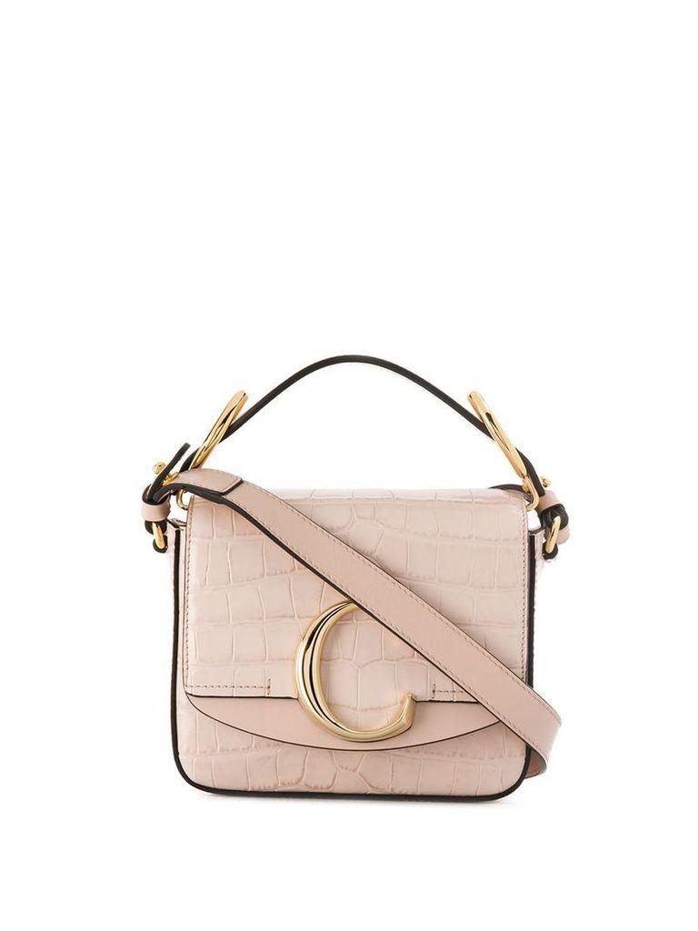 Chloé mini C crocodile embossed crossbody bag - Pink