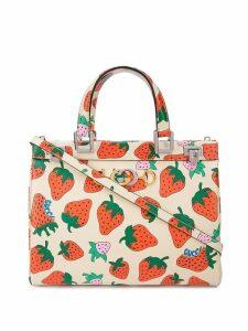 Gucci Gucci Zumi Strawberry print medium top handle bag - White