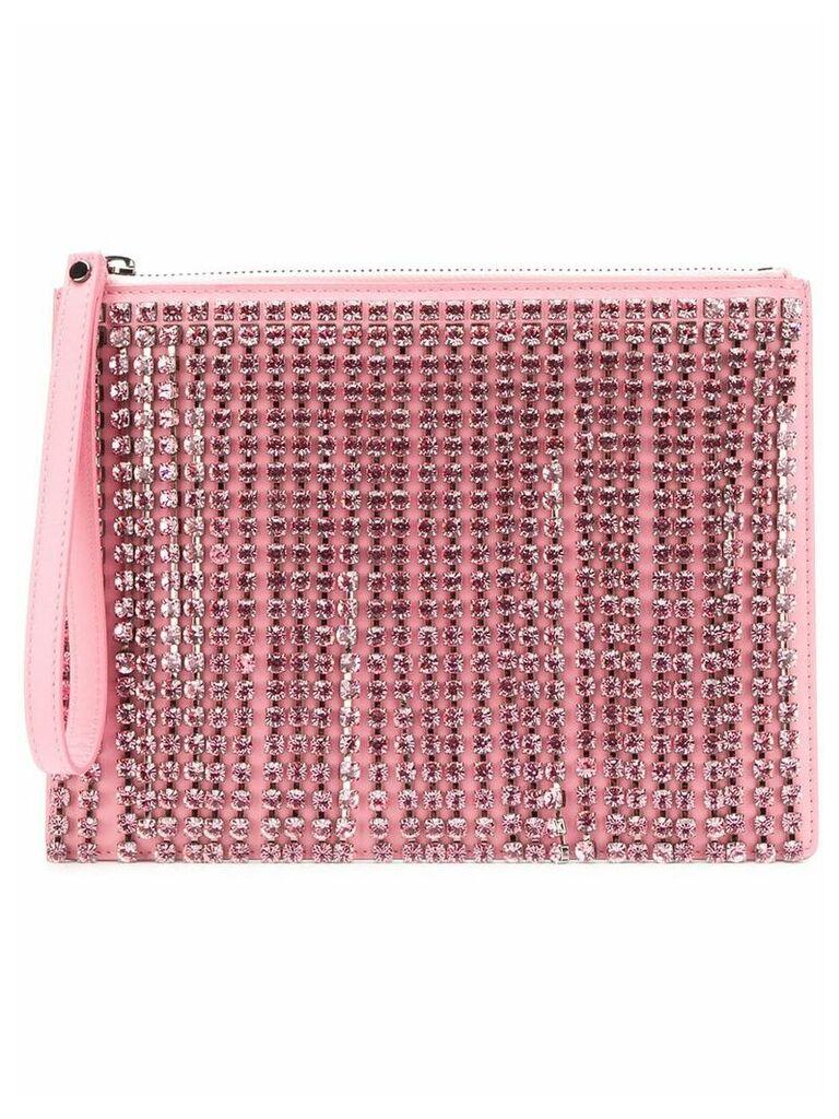 Christopher Kane crystal fringe patent clutch - Pink