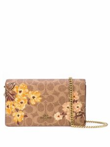 Coach floral print chain shoulder bag - Brown