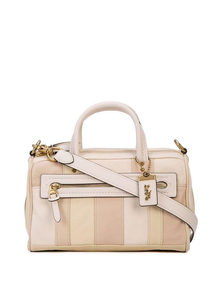 Coach stripe panel shoulder bag - White