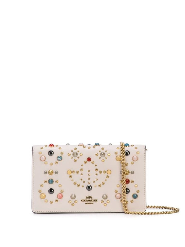 Coach studded chain mini bag - White