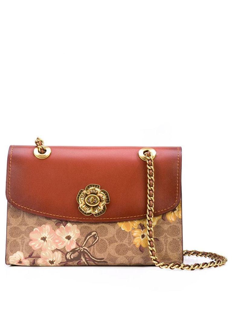 Coach floral print shoulder bag - Brown