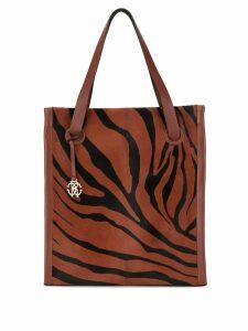 Roberto Cavalli zebra stripe shopper tote bag - Brown