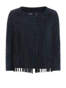Dondup Fringe Embellished Suede Jacket
