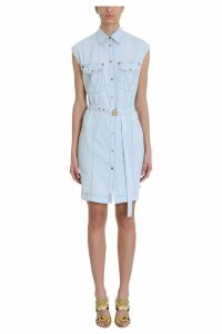 Versace Printed Belted Denim And Silk Shirt Dress