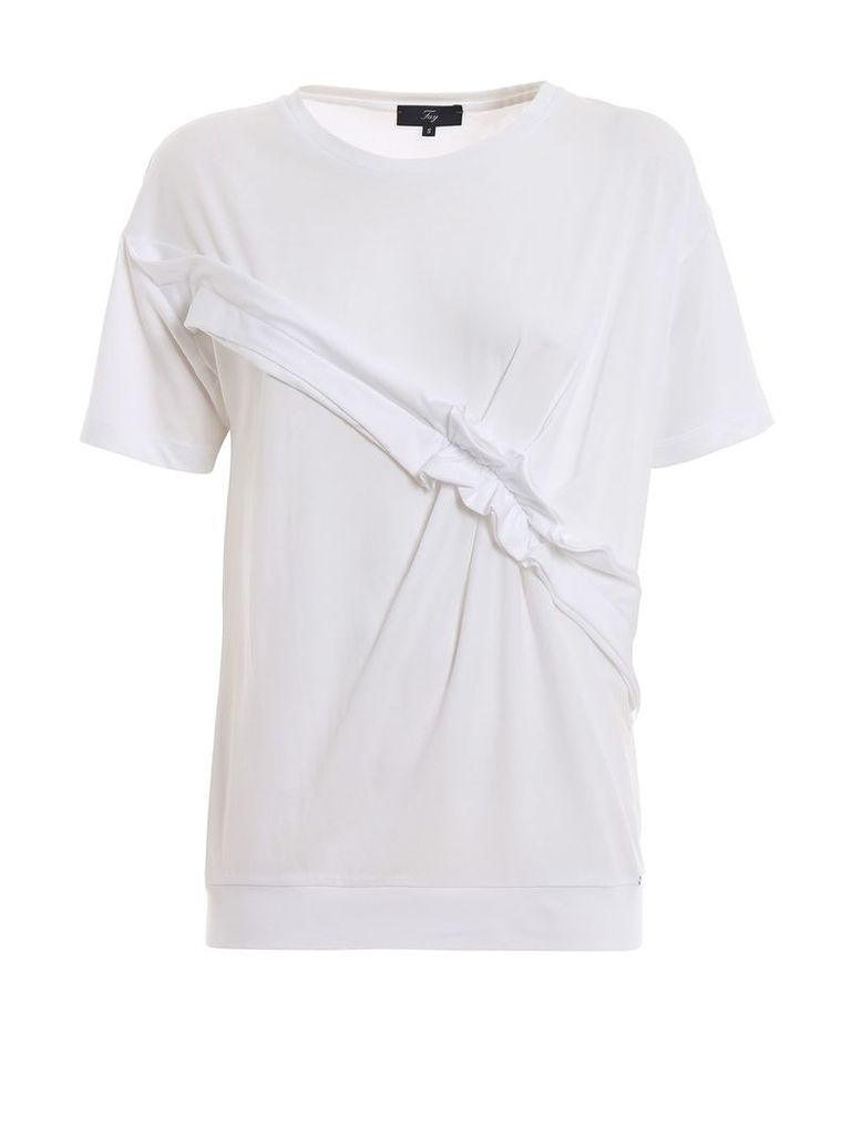 Fay T-shirts Round Neck Short Sleeves Rouches